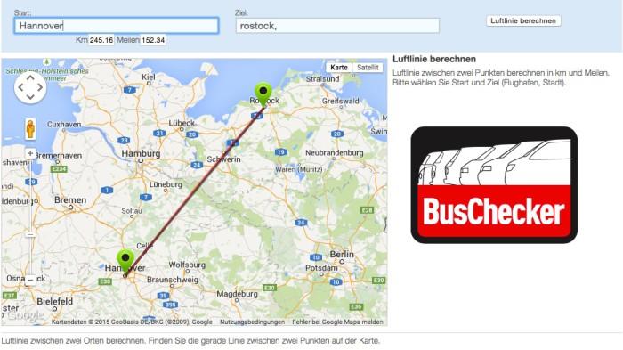 Abrechnug BusChecker Aufwand ermitteln mit http://www.luftlinie.org/