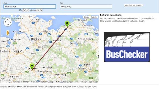 Abrechnug VW BusChecker Aufwand per http-/entfernungenberechnen.com/luftlinie