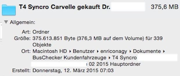 Datenmenge Dokumentation auf dem Weg zu Ihrem Traumbus mit dem BusChecker II