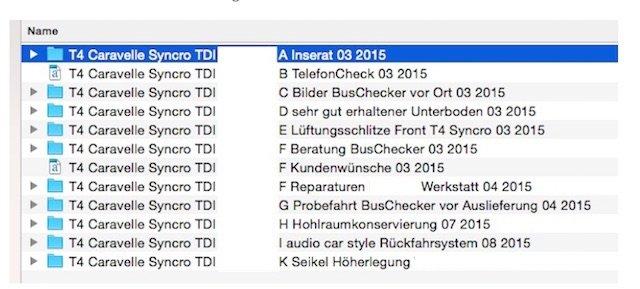 Ordnerstruktur VW Bus Checker Historie zu Ihrer VW Bus Suche
