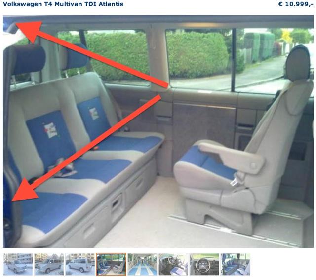 VW Bus Inserate checken mit FAN360 Blick in den VW Bus durch offene Schiebetür