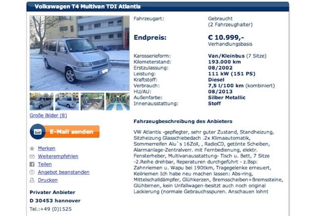 VW Bus T4 Angebot von Privat ein schlecht getarnter Händler