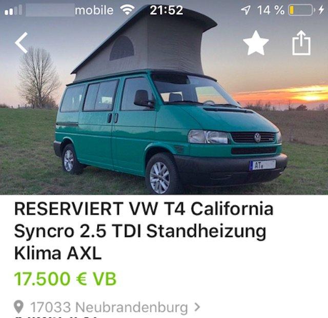 VW Bus T4 Syncro mit manipulierter Ident Nummer VORSICHT