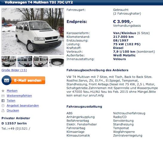 VW Bus kaufen von Privat in Berlin immer wieder gern genommener Händlertrick