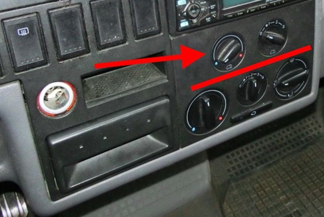 Betaetigung Heizung VW Bus T4 hinten