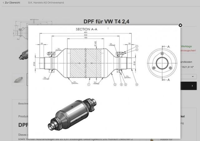 Dieselpartikelfilter für VW Bus T4 2.4 D Quelle SK Handels AG 05 2013