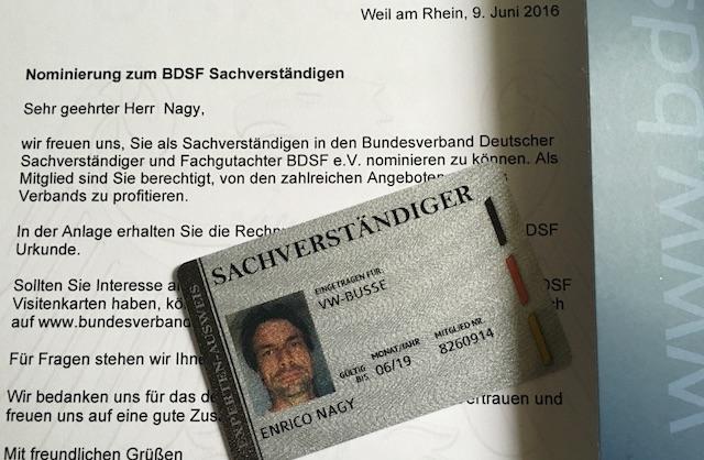Enrico Nagy Sachverstaendiger fuer VW Busse organsiert im Bundesverband deutscher Sachververstaendiger und Fachgutachter seit 06 2016