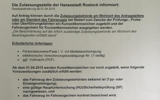 Kurzzeitkennzeichen kaufen Neue Regelungen 01 04 2014 Bildinfo I
