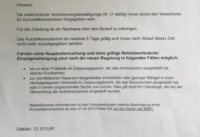 Kurzzeitkennzeichen kaufen Neue Regelungen 01 04 2014 Bildinfo II