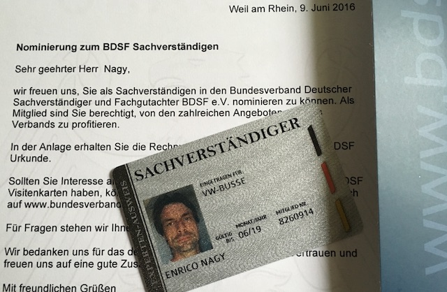 VW Bus Sachverstaendiger Enrico Nagy BDSF