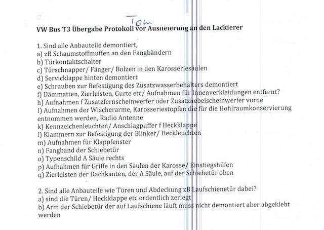 VW Bus T3 Übergabeprotokoll an den Lackierer nach Karosseriearbeiten Seite 1 von 2