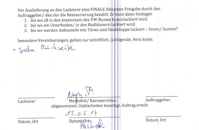VW Bus T3 Übergabeprotokoll an den Lackierer nach Karosseriearbeiten Seite 2 von 2