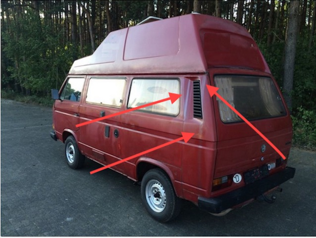 VW Bus T3 HochDachCamper Rostwasser läuft aussen herunter