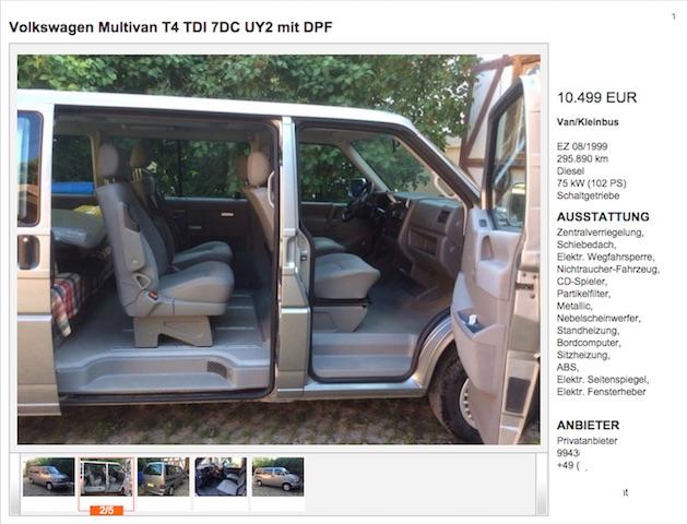 VW Bus T4 Inserat mit verdächtiger Decke auf der Rückbank