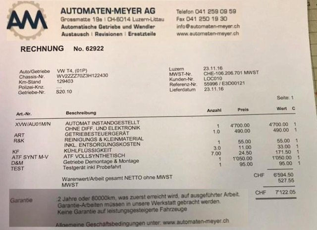 Vw Bus Automatik Getriebe Rechnung Schweiz