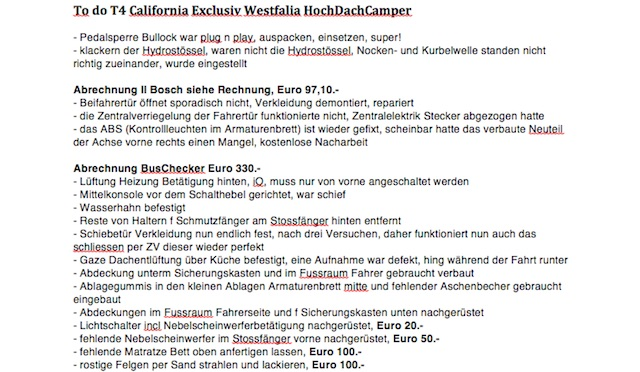 to do Liste California Exclusiv Teil 1 von 2