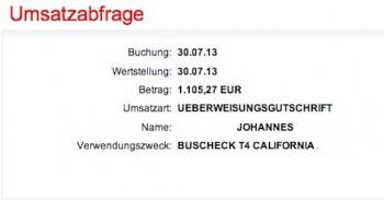 Überweisung an den BusChecker screenshot