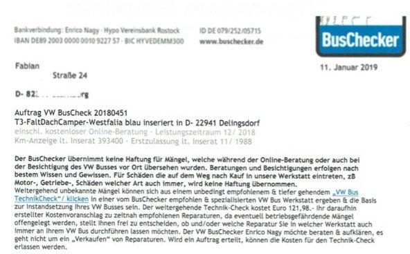 Auftrag VW Bus Check unterschrieben an den BusChecker zurueck