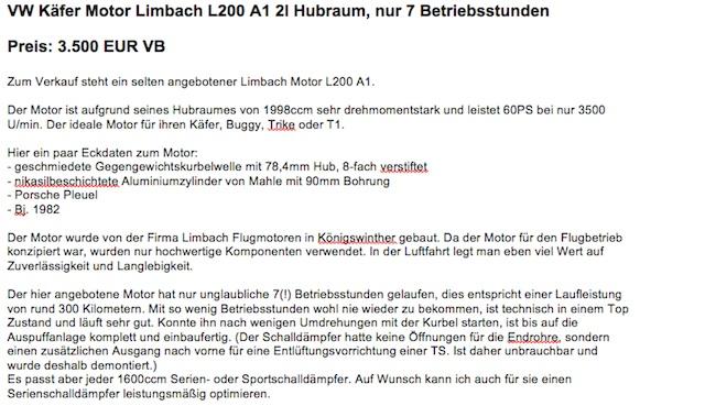 Inserat Limbach Motor mit 7 Betriebsstunden für Euro 3500.- in 02 2014