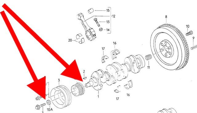 T3 1.6 D CS Motor erste Serie Kurbelwelle und Zahnriemenrad Explosionszeichnung