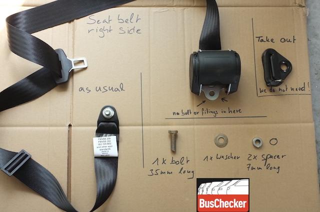 T3 Dreipunktgurte hinten nachruesten Teileuebersicht VW Bus Checker