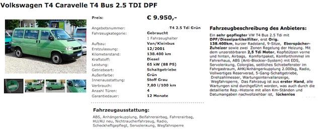 VW Bus T4 Händler Angebote genau prüfen