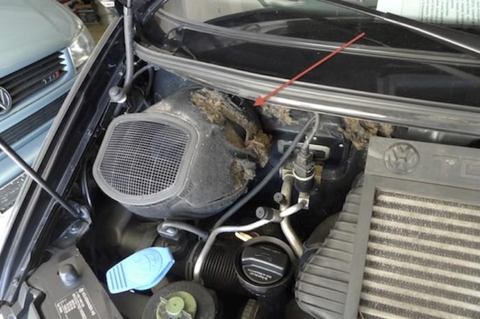 beschädigtes Dämmaterial im VW Bus T4 Motorraum nach Motorwäsche
