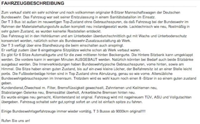 Bundeswehr Busse Händler Inserat übersetzt vom Bus Checker