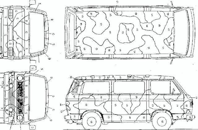 Flecktarnmuster Lackiervorgabe Bundeswehr VW Bus T3 Transporter