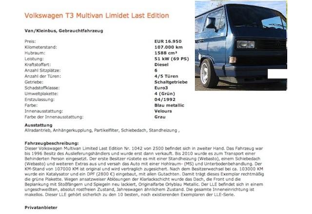 T3 LLE online begutachten lassen mit dem VW BusChecker