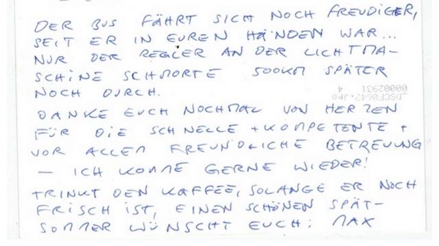 T3 Westfalia Faltdach kaufen mit dem BusChecker Referenz Max Rückseite Postkarte
