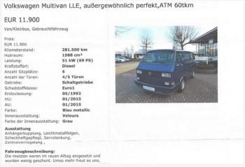 T3 last limited edition Inserat mit Bild wird übersetzt vom VW Bus FAN360 II