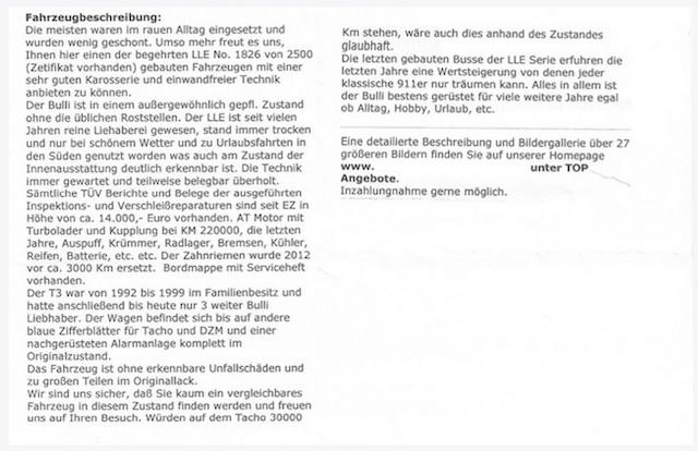 T3 last limited edition Inserat mit Bild wird übersetzt vom VW Bus FAN360 Teil 2