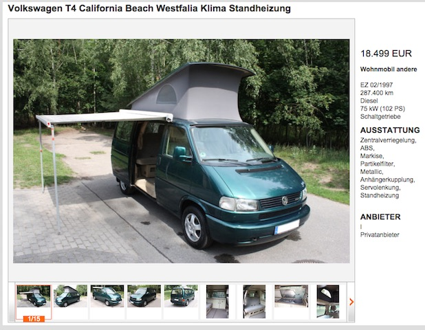 T4 California BEACH Westfalia KlappDachCamper Referenz BusChecker 07 2015