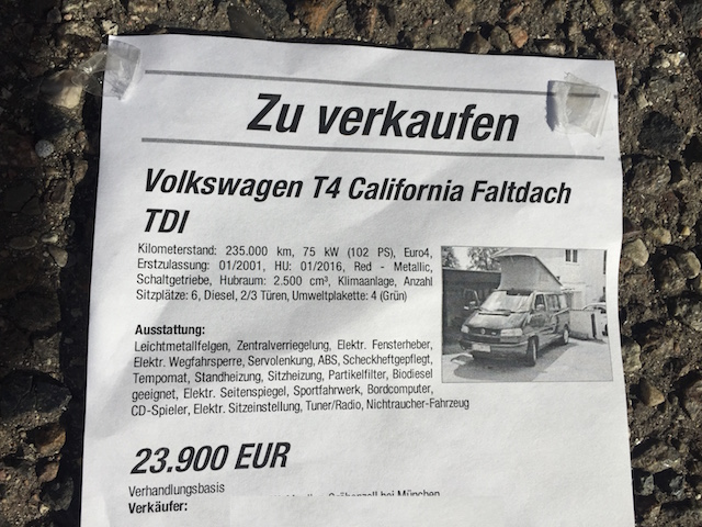 T4 California Sebastian Preisschild gekauft in München