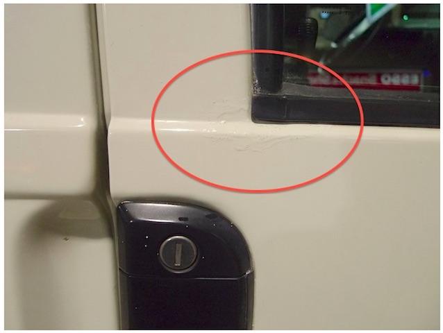 T4 Syncro Beifahrer Fenster leichter Rostansatz ausgebessert