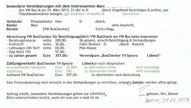 T4 Syncro Bus Checker Auftrag unterschrieben Teil II