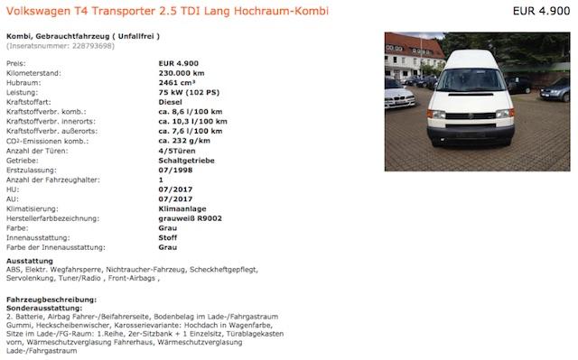 T4 TDI hoch lang Britta im Begleitung VW BusChecker gekauft 08 2016