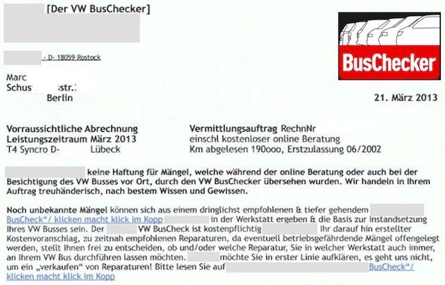 VW BUS CHECKER AUFTRAG T4 SYNCRO KAUFEN UNTERSCHRIEBEN TEIL I