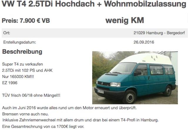 VW Bus Hochdach Camper Kaufberatung Referenz Bus Checker