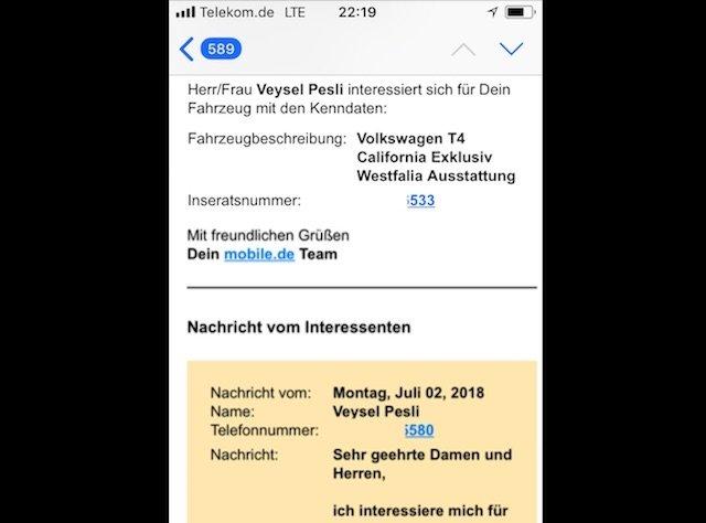 VW Bus Interesent obwohl Inserat noch nicht online ist