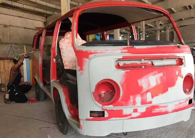 VW Bus T2b auf Modell T2a umgebaut