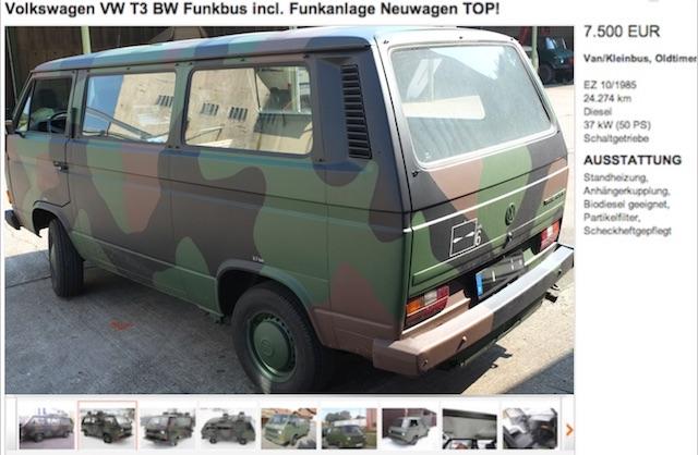 VW Bus T3 Bundeswehrrückläufer kaufen mit dem Bus Checker