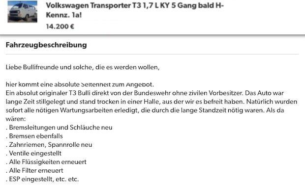 VW Bus T3 H Kennzeichen ex Bundeswehr