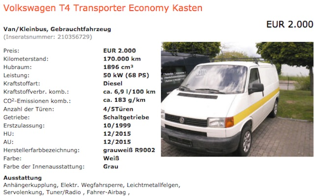 VW Bus T4 1.9 TD BusChecker Referenz Dan Inserat 05 2015