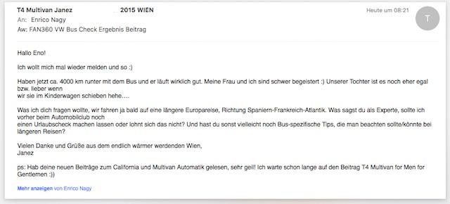 VW Bus T4 BusChecker feed back Janez aus Wien 05 2016