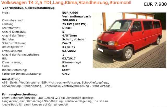 VW Bus T4 Caravelle kaufen low budget Camper Basis Bus Checker