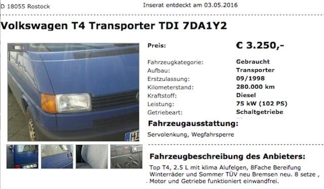 VW Bus T4 Kasten 2.5 TDi BusChecker Referenz 05 2016