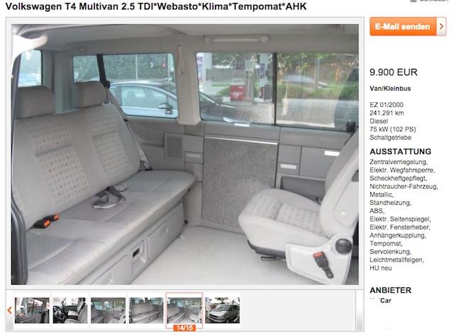VW Bus T4 Multivan Serie 2 mit Ausstattungsdetails Serie 1