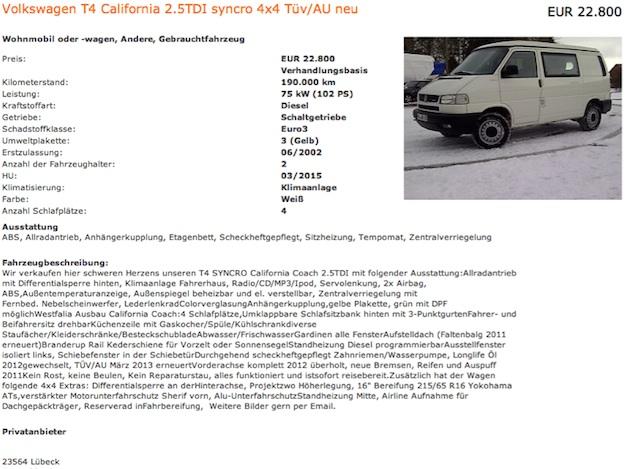 VW Bus T4 Syncro kaufen mit dem BusChecker